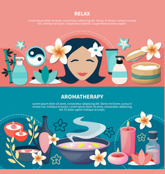spa aromatherapy relaxation flat banners vector image