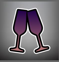 sparkling champagne glasses violet vector image