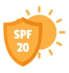 Spf 20 uv logo flat style vector