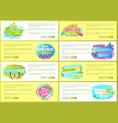 spring big sale advertisement labels set flowers vector image