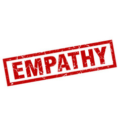Square grunge red empathy stamp vector