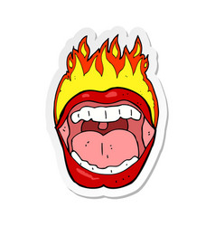 Sticker of a cartoon flaming mouth symbol vector