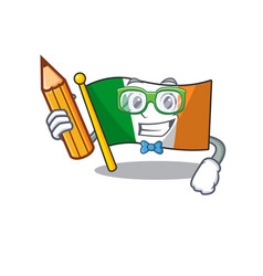 Student flag ireland hoisted above cartoon pole vector