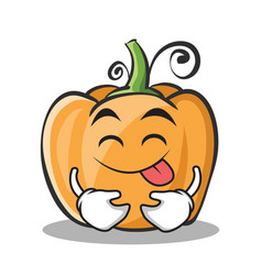Tongue out pumpkin character cartoon style vector