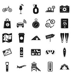 tourist trip icons set simple style vector image