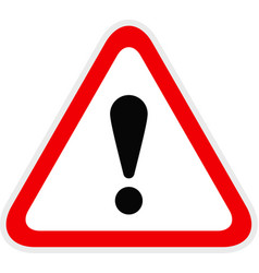 Triangular red warning hazard symbol vector