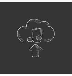 Upload music Drawn in chalk icon vector