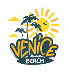 venice beach los angeles california label sig vector image