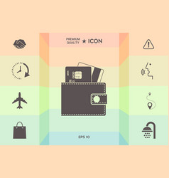 Wallet with credit cards inside icon vector