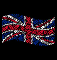 Waving united kingdom flag collage of free tag vector