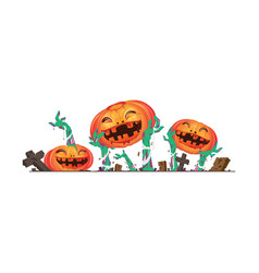 3d halloween pumpkin and zombies hands vector image