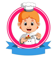 baker holding a tray with a cupcake vector image