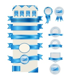 Blue ribbons and labels vector image