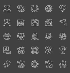 casino icons collection vector image