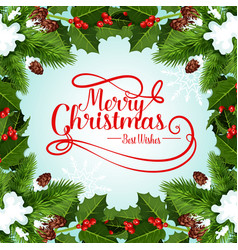 christmas frame of xmas tree for greeting card vector image