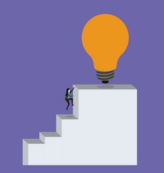 Color background with businesswoman climbing stair vector