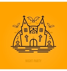 Happy halloween concept with bats moon castle vector image vector image