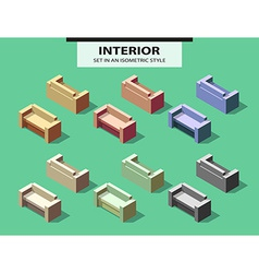 Set of isolated sofas with shadow in isometry vector image vector image