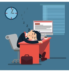 Tired Sleeping Businessman at Work vector image