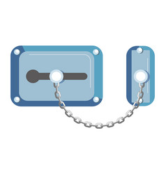 blue old-fahioned metal lock with chain isolated vector image