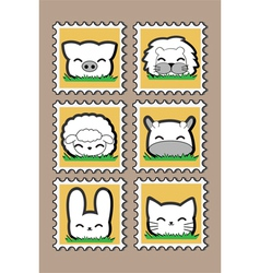 Cute little Animal Stamp set vector image