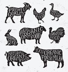 Hand Drawn Farm Animal Set vector image