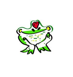 love the frog an of a cute cartoon vector image