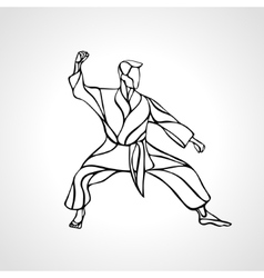 Martial arts pose silhouette Karate fighter vector image vector image