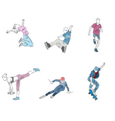 six teenager set vector image