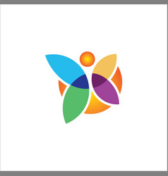 butterfly colored logo vector image vector image