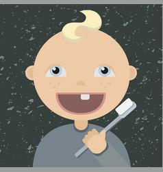 cartoon baby brushing teeth vector image