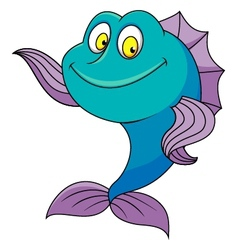 Cute fish cartoon waving vector image