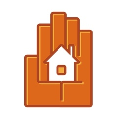 Icon of a house in the palm of a hand vector image vector image