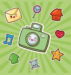kawaii camera photographic image vector image