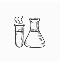 Laboratory equipment sketch icon vector image