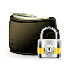 Lock and wallet icon vector image vector image