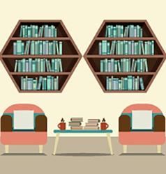 Two Sofas With Hexagon Bookshelves vector image vector image