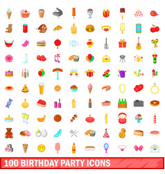 100 birthday party icons set cartoon style vector image vector image