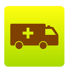ambulance sign brown icon at vector image