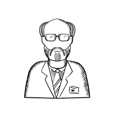 Bearded scientist in lab coat sketch vector