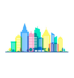 city with punchy pastels colors flat vector image