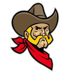 cowboy head mascot vector image vector image