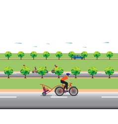 Father biking with little son family bicycle tour vector