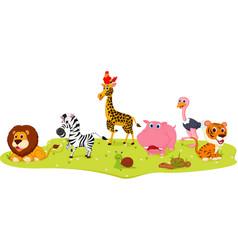 happy wild animal cartoon vector image