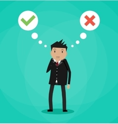 Man and speech bubbles with checkmarks vector image vector image