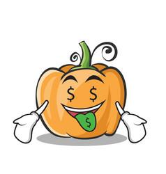 Money mouth pumpkin character cartoon style vector