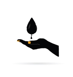 oil black gold in hand vector image