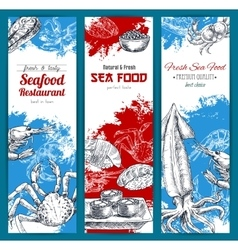 Seafood and fish food sketch banners set vector image
