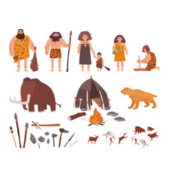 Set of stone age theme primitive people children vector