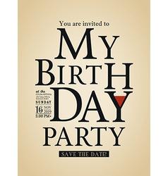 Typography birthday card design template vector